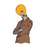 Hombre creativo aislado de la cabeza de la bombilla de la historieta Fotos de archivo