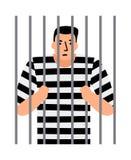 Hombre criminal en cárcel Fotografía de archivo libre de regalías