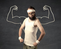 Hombre débil joven con los músculos exhaustos Fotos de archivo libres de regalías