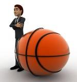 hombre 3d con concepto grande de la bola de la cesta Foto de archivo