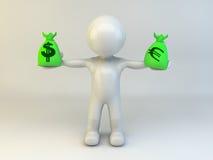 hombre 3d con el bolso del dinero Imagenes de archivo