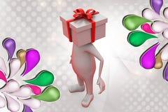 hombre 3d con el ejemplo de la cabeza del regalo Imágenes de archivo libres de regalías
