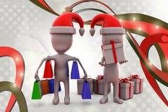 hombre 3d con el ejemplo de las compras de la Navidad Imágenes de archivo libres de regalías