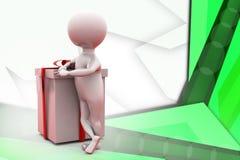 hombre 3d con el ejemplo del regalo Imagen de archivo libre de regalías