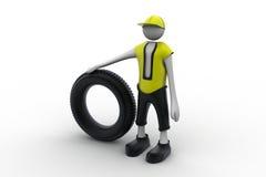 hombre 3d con el neumático Fotos de archivo libres de regalías