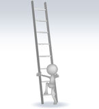 hombre 3d con escaleras stock de ilustración