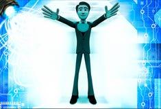 hombre 3d con forma aumentada de la mano y del corazón en el ejemplo del pecho Fotos de archivo