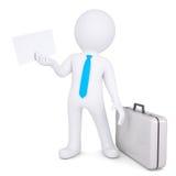 hombre 3d con la maleta que sostiene la hoja de papel stock de ilustración