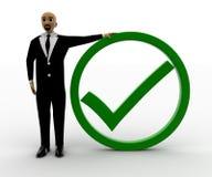 hombre 3d con la marca verde de la señal Imagen de archivo