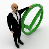 hombre 3d con la marca verde de la señal Foto de archivo libre de regalías
