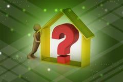 hombre 3d con negocio de las propiedades inmobiliarias con el signo de interrogación Fotos de archivo libres de regalías