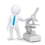 hombre 3d con un microscopio Fotos de archivo libres de regalías