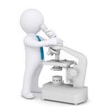 hombre 3d con un microscopio Fotografía de archivo libre de regalías