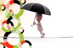 hombre 3d en cuerda con el ejemplo del paraguas Imagen de archivo libre de regalías
