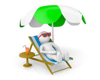 hombre 3D en la playa del th Libre Illustration