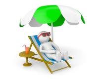 hombre 3D en la playa del th Imágenes de archivo libres de regalías