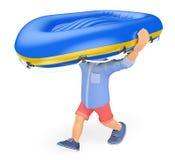 hombre 3D en los pantalones cortos que llevan un barco inflable en su cabeza Fotos de archivo libres de regalías