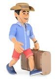 hombre 3D en pantalones cortos que camina con una maleta retra y un casquillo Foto de archivo libre de regalías