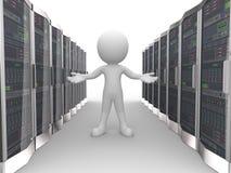 hombre 3d en servidor de la red de ordenadores de datos Imágenes de archivo libres de regalías