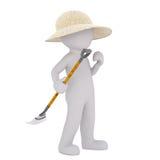 hombre 3D en sombrero de paja con el rastrillo ilustración del vector