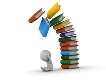 hombre 3D presionado con los libros que caen sobre él Imágenes de archivo libres de regalías