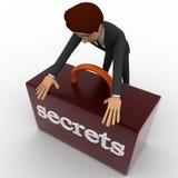 hombre 3d que asegura concepto secreto de la caja Foto de archivo libre de regalías
