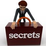 hombre 3d que asegura concepto secreto de la caja Imágenes de archivo libres de regalías