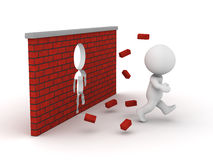 hombre 3D que corre a través de una pared de ladrillo