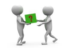 hombre 3d que da concepto de la caja de la pregunta Imagenes de archivo