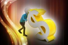 hombre 3d que empuja la muestra de dólar Foto de archivo libre de regalías