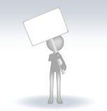 hombre 3d que lleva a cabo una página en el backround blanco stock de ilustración