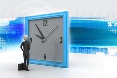 hombre 3d que mira el reloj Fotografía de archivo