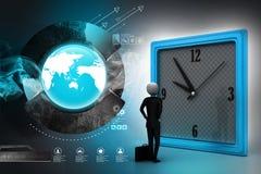 hombre 3d que mira el reloj Imagen de archivo libre de regalías