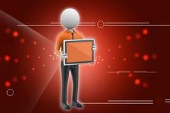 hombre 3d que muestra la tableta Imagen de archivo