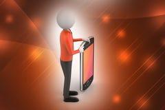 hombre 3d que muestra la tableta Imagenes de archivo