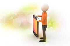 hombre 3d que muestra la tableta Fotos de archivo libres de regalías