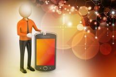 hombre 3d que muestra la tableta Imagen de archivo libre de regalías