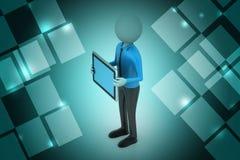 hombre 3d que muestra la tableta Fotografía de archivo