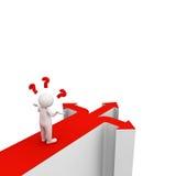 hombre 3d que piensa y que confunde con tres flechas rojas que muestran tres diversas direcciones Foto de archivo libre de regalías