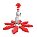 hombre 3d que piensa y que confunde diversas direcciones de las flechas rojas Fotografía de archivo