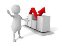 hombre 3d que presenta el gráfico de la carta de crecimiento del negocio en el backgroun blanco Imagen de archivo