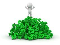 hombre 3D que se coloca en la pila de símbolos del dólar Imagen de archivo