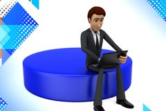 hombre 3d que se sienta con el ejemplo del ordenador portátil Imagenes de archivo
