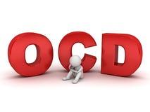 hombre 3d que se sienta con el texto rojo del ocd o el desorden obsesivo Foto de archivo libre de regalías