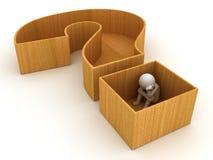 hombre 3d que se sienta en cajón del signo de interrogación Imagen de archivo