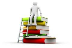 hombre 3d que se sienta en la pila de libros y de escalera Imagen de archivo