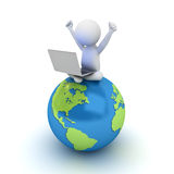 hombre 3d que se sienta en mapa azul del globo y que usa el ordenador portátil libre illustration