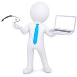 hombre 3d que sostiene un ordenador portátil y un vidrio de Google Fotografía de archivo libre de regalías