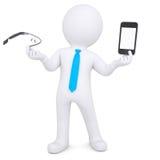 hombre 3d que sostiene un vidrio y un smartphone de Google Foto de archivo libre de regalías