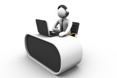 hombre 3D que trabaja en un centro de atención telefónica Foto de archivo libre de regalías